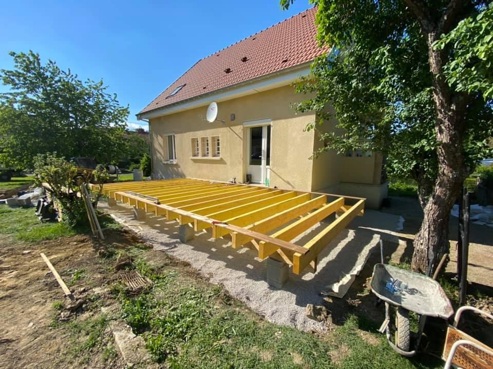 etape construction terasse en bois